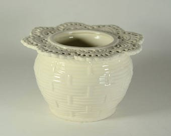 African Violet Pot Basket Weave Small White Made to Order
