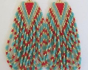 Seed Bead Chevron Earrings
