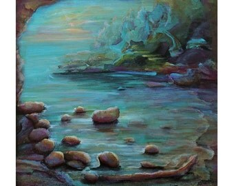 "SALE...12""x12"" original acrylic on canvas, ""The cove"""