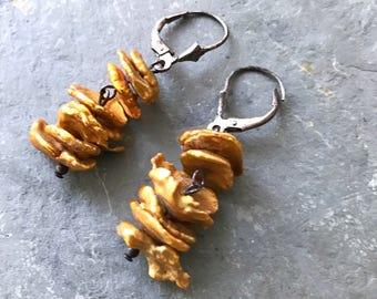 Golden Pearl Earrings, Rustic Pearl Earrings, Golden Leaf Pearl Earrings, Oxidized Silver and Pearl Earrings