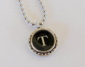 SALE Initial Necklace Typewriter Key Necklace letter T  Vintage Initial Jewelry Recycled jewelry  All Letters Available