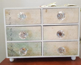 Chest, 6-drawer chest, Decorated metal flowers, leaves, box, glass knobs, keepsake, organizer, jewelry, for desk, office, bedroom