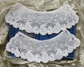 Vintage Broderie Anglaise Collar Set ... 2 Piece English Collar Set, Cuff Set ... whitework needlework ... Shabby, Tattered, Rescue, Upcycle