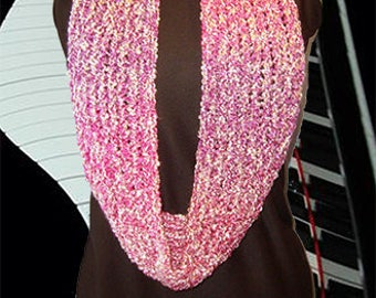 Knit Neck Warmer, Gaiter/Buff, Cowl, Shoulder Wrap, Rose Quartz