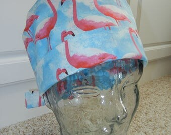 Tie Back Surgical Scrub Hat with Pink Flamingos Sky