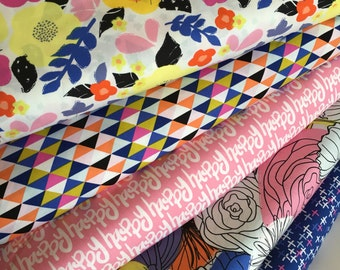 Here Comes the Fun fabric bundle Art Gallery Fabrics, Boho fabric, Triangle fabric, Happy fabric,  Bundle of 5- You Choose the Cut