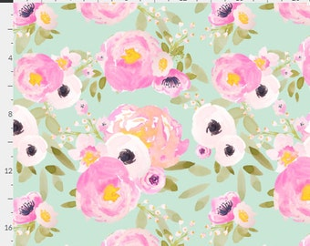 WaterColor Floral Roses Bright Pink Blush & Mint Teal Baby Nursery Crib Bedding Set CHOOSE and CUSTOMIZE