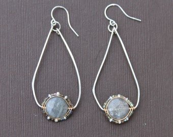 Hoop Earrings Labradorite Seed Bead Wire Wrapped Bezel Mixed Metal Sterling Silver Gold Handcrafted