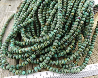 6mm African Turquoise Jasper Rondelle Beads - 4x6mm African Jasper Smooth Rondelle beads, Green Blue Earthy Beads 6 mm