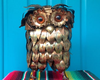 "FREE SHIPPING..Vintage Large 12"" Curtis Jere Style Brutalist Metal Owl Sculpture-Mid Century-Hippie-Modern-Bird-Boho-Woodsy-Nature Decor"