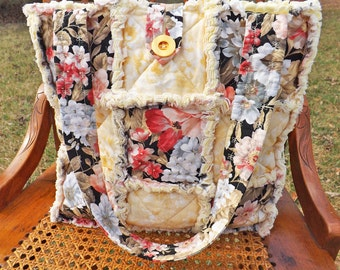 Rag Quilt Tote - Yellow, Coral, Beige, Pink Floral Tote - Mother's Day - Handmade - Handbag