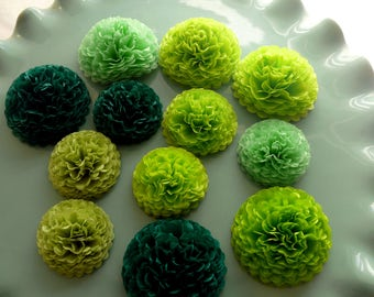 Green Button Mums Tissue Paper Flowers, Small Paper Flowers, Wedding Flowers, Shower Decorations, Green Flowers, Dark Green, Lime, Apple