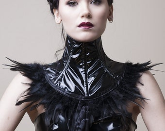 PVC and Feather Neck Corset