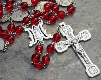 Stations of the Cross Chaplet in Ruby Czech Glass; Divine Mercy; Stations of the Cross Crucifix; Catholic Chaplet; Lent Devotional