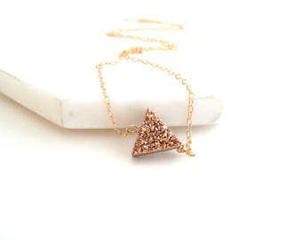 As seen on Pretty Little Liars S7E714 Triangle druzy necklace Rosegold Geometric jewelry Arrow tribal for her under 55 VitrineDesigns
