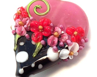 Valentine Pink Bubblegum Polka Dot Focal Heart