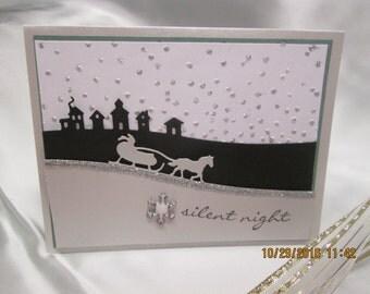 Silent Night Winter Scene Christmas Card