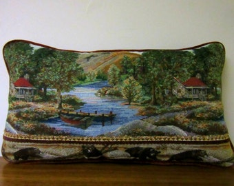 Bear Tapestry Lumbar Pillow Decorator Soft Comfy Textured Chenille Cabin Lodge Decor Lake  Woodlands