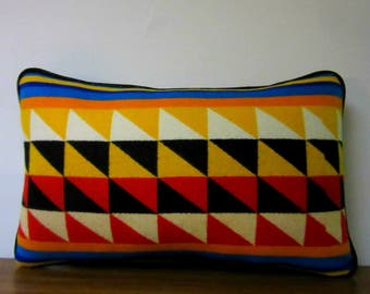 Lumbar Pillow Vibrant Colors Blanket Wool from Pendleton Oregon Piping Trim Black Faux Leather