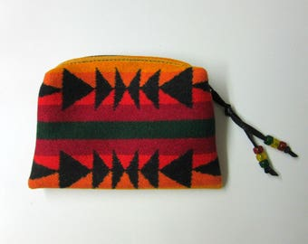 Zippered Pouch Cosmetic Bag Large Change Purse Accessory Organizer Wool Southwest Print Blanket Wool from Pendleton Oregon