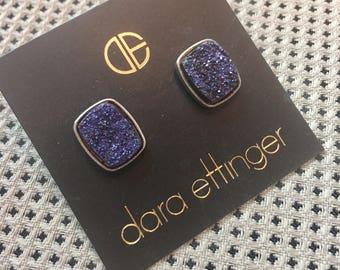 SALE Dara Ettinger ALICIA Brilliant Druzy Rectangle Stud Earrings in Antique Rose Gold/ Purple