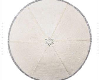 Linen kippah yarmulke yamaka kippa. Jewish wedding - Bar Mitzvah - Shabbat.
