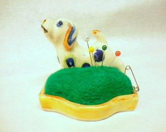 Vintage Sweet Floppy eared Spotted Puppy Standing next to Pin Cushion, Made in Japan