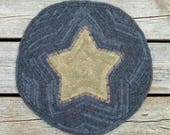 Primitive Hand Hooked Chair Pad - Folk Art - Rug Hooking Star Mat (Free Shipping)