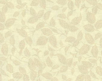 Cotton Fabric Quilt Fabric Bonnie Stratton Timeless Treasure One-Yard Cut Quilt Shop Quality Fabric Tan Leaf Creamy Background Quilt Stash