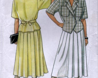 1990's Sewing pattern Unlined Jacket and Skirt 6 sizes New Lookj 6333