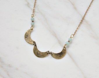 Triple crescent moon necklace, aqua amazonite gemstones, simple moon necklace