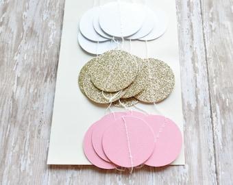 Pink Gold glitter circle dot banner,Wedding Garland, Birthday Decor, Wedding Decor, 10 feet garland, Birthday decor,bridal baby shower decor