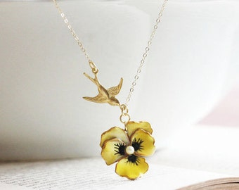 Yellow Pansy Necklace Enamel Flower Necklace Vintage Flower Jewelry  Bird And Pansy Necklace