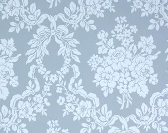 1950's Vintage Wallpaper - Blue Floral Damask