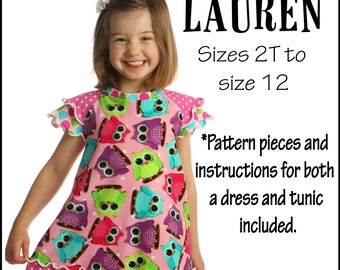 Child size Girls Lauren Clothes Sewing Pattern  Knit Dress Pattern Aline dress Downloadable PDF pattern Downloadable PDF tutorial