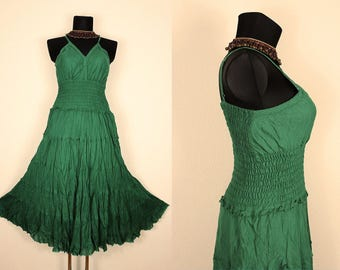 Long Green Gypsy Princess Maxi Dress Hippie Boho Plus Size 16 18 20  Gothic Medieval Spring Summer Vintage Style