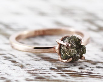 Rose Gold Engagement Ring Green Uncut Raw Diamond Rings