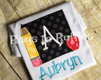 Personalized Monogrammed Pencil Back to School Shirt- Monogrammed Back to School Shirt - Apple Shirt