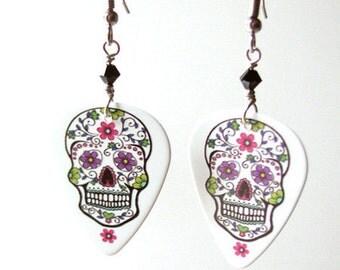 Guitar Pick Earrings Day of the Dead Sugar Skulls dia de los muertos Halloween calavera skeleton wedding shower party favors goth til death