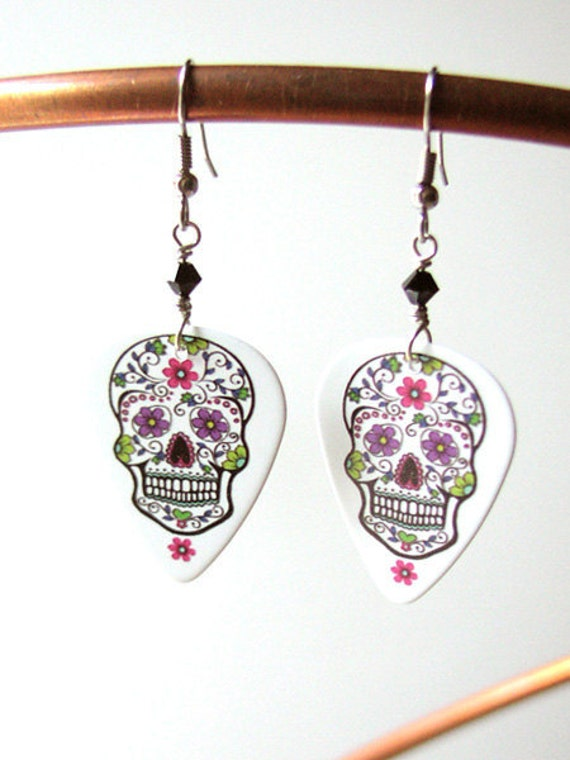 Guitar Pick Earrings Day of the Dead Sugar Skulls dia de los muertos Halloween calavera skeleton wedding shower party favors goth til death
