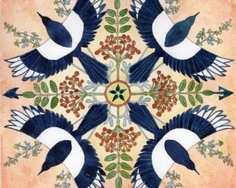 Magic Magpie mandala ORIGINAL painting