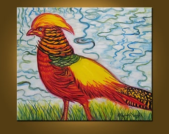 Golden Pheasant -- 20 x 24 inch Original Oil Painting by Elizabeth Graf on Etsy -- Art Painting, Art & Collectibles
