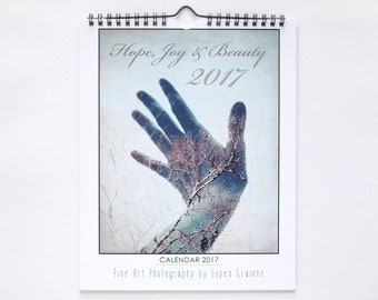 "2017 Wall Calendar | Photography | Stocking Stuffer | 8x10 Calendar ""Hope Joy and Beauty"""