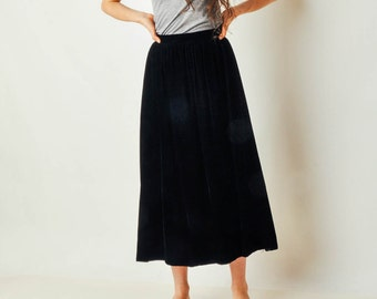 Vintage Full Black Velvet Skirt