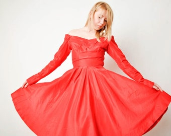 Vintage Red Ceil Chapman Off Shoulder Dress