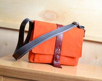 Waxed Canvas Satchel, Crossbody Canvas Bag, Waxed Canvas Handbag, Waxed Canvas Purse, Gift for Her - The Davy Messenger in Safety Orange