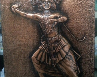 Vintage Repousse Sri Lanka Dancer Copper Picture Souvenir