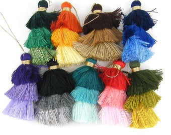 Light to Dark Tassels, Tiered Tassels, Bohemian Tassels, Ombre Tassels, Three Tier Jewelry Tassels, Triple Fringe Jewelry Pendants |TS2|1