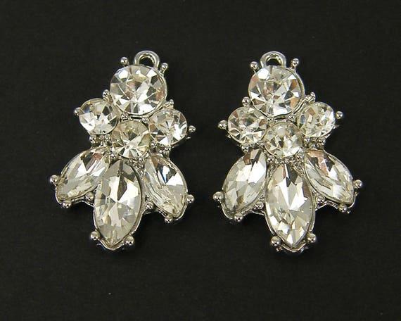 Clear Rhinestone Cluster Earring Findings, Clear Silver Chandelier ...