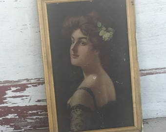 Gorgeous Framed Print of Woman Looking over shoulder DEAL of the DAY Gilded Wood Frame Let's Call Her Agnes (2048W)